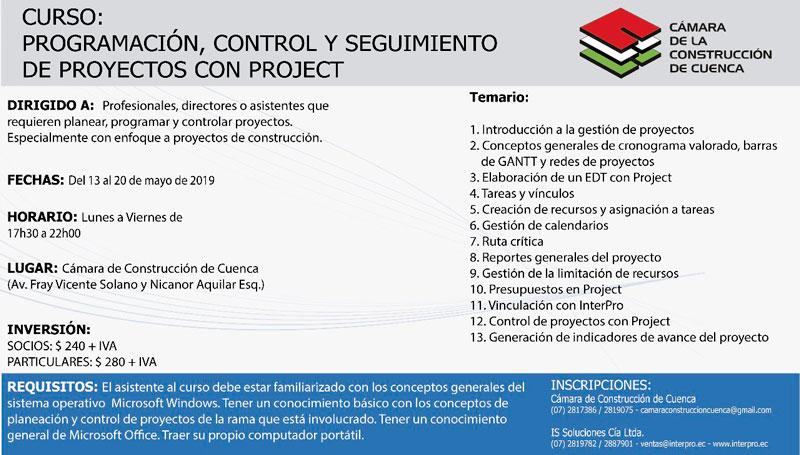 Programación, control y seguimiento de proyectos con PROJECT