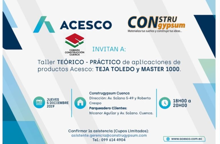 TALLER TEÓRICO PRÁCTICO DE APLICACIONES DE PRODUCTOS ACESCO: TEJA TOLEDO Y MARTES 1000.